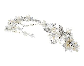 Floral Leaf Side Accented Headband with Swarovski Crystal Beads, Rhinestones & Freshwater Pearls