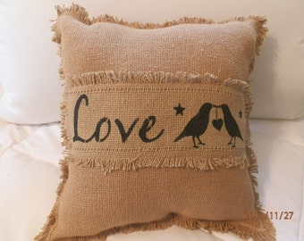 """Burlap Decorative Toss Pillow """"Love"""" with Fringes and """"Love Crows'' 12""""x12"""""""
