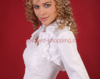 Ruffled Collar and Cuffs Taffeta Bolero Jacket White or Ivory Cover Up E1085