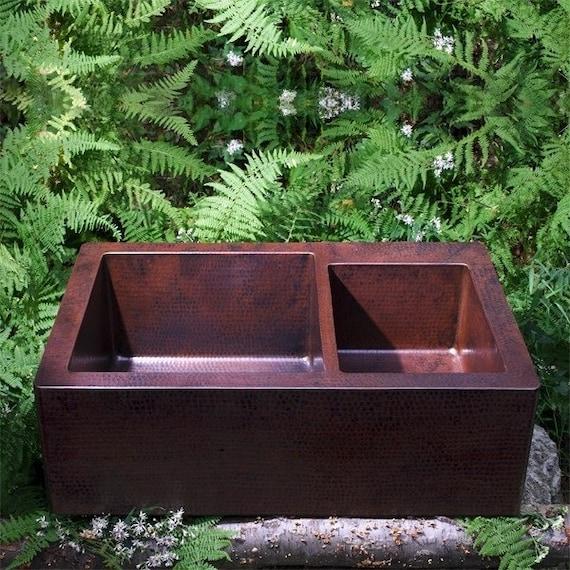 Copper Farmhouse Apron Kitchen Sink, Double Well, Artisan Created