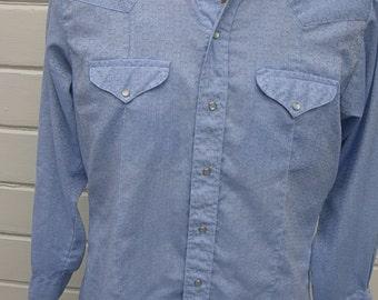 Size L (46) ** Exceptional 1970s blue snap Cowboy Shirt
