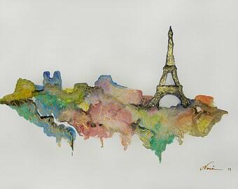 Paris watercolor, acrylic gold, Eiffel tower watercolor, watercolor painting, Original watercolor Paris painting, Paris landscape
