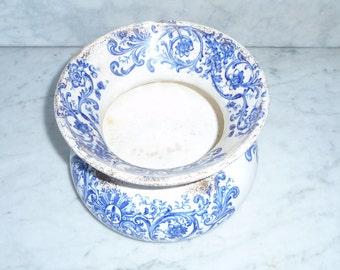 Antique spitting jar / pot Porcelain Transfer Ware English – circa 1880