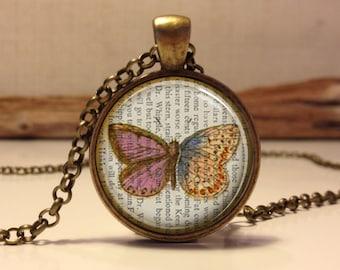 Butterfly necklace.  Butterfly art pendant jewelry(Butterfly#13)