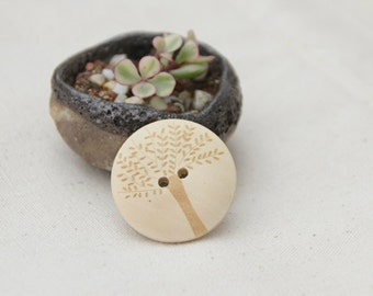 12 Pieces Tree Design Wood Buttons - 30mm - 2 Hole Natural Wooden Button