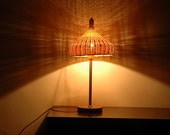 Bamboo and Wood Table Lamp - desk lamp - Bamboo Night Lights - wood base Lamp - Romantic lights - unique - Love Nature