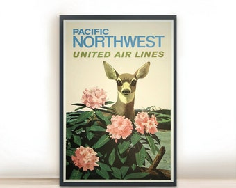"Art Print, Illustration, Art Posters, Dorm Decor, Minimalist Art, Pacific Northwest United Airlines Vintage Poster 13"" x 19"""