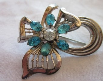 Fabulous Vintage Sterling Bow and Paste Pin