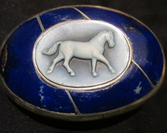 """Sterling Silver, Afghanistan Lapis Belt Buckle with Carved Agate Cameo for 1 1/2"""" Belt. 3 1/4"""" by 2 1/4"""" measurements"""