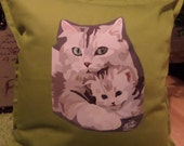 Hand drawn Ragdoll Cat and Kitten Green Cushion Cover - capT21boutique
