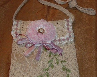Romantic Garden Style Purse, cream with flowers and lace, one of a kind, repurposed, altered purse, shabby style