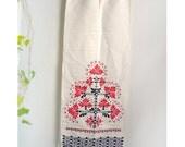 Vintage table runner cloth Extra Long Table runner Ethnic 70s Folk Retro homedecor Red beige Black, GDR