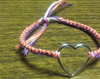 heart woven friendship bracelet. Your choice of color