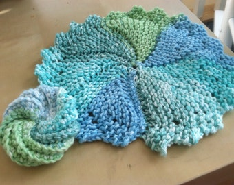 Matching set- bright and springy blue, teal, and green homemade knitted round dish cloth with matching crocheted dish scrubbie- dish set