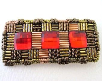 Swarovski crystal bead embroidered brooch
