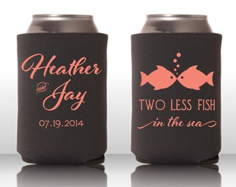 Popular items for wedding coozie on etsy for Two less fish in the sea