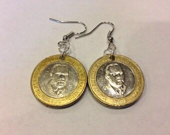 Jamaica 20 Dollar Two-Toned, Bi-Metal Coin Earrings