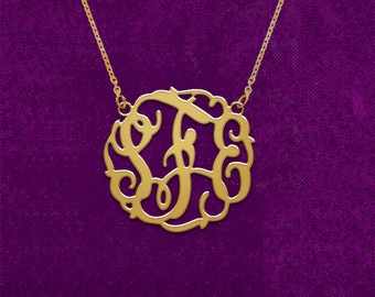 Monogram necklace, personalized monogram necklace, monogram initial necklace,  925 Sterling silver 18k Gold Plated