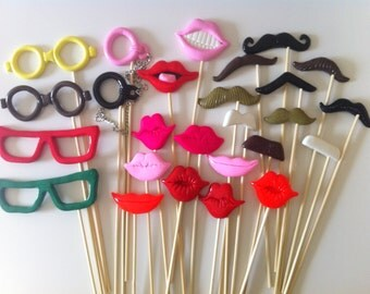 26PCS Photo Booth Props for Wedding/Party POLYMAR CLAY Moustaches/Lips/Glasses on sticks