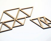 12 Concentric Triangle Wood Beads : Maple