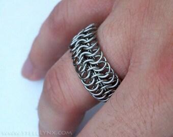 Stainless Steel Chain Mail Ring: Finger Armor, Custom Ring Size