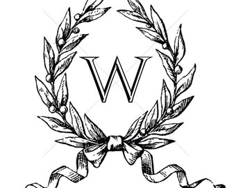 Vintage Digital Monogram // W Monogram // Digital Wreath Monogram // W Initial // Custom Wedding Monogram // Wedding Logo // Wreath Logo