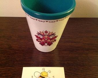 Teal flower plater/potb