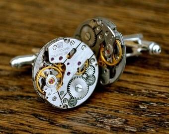 Watch Movement 20mm Cufflinks Steampunk Vintage Wedding Groom Gift Mens Retro Present