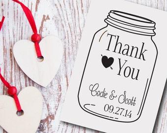 Custom Wedding Stamp Mason Jar Thank You Style No. 18W