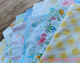 Vintage Sheet / Bed Linens Fat Quarter. Surprise Bundle. 8 Pack.