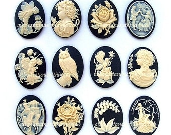 12 Assorted Styles Ivory color on Black 40mm x 30mm Resin  CAMEOS LOT A for Making Costume Jewelry