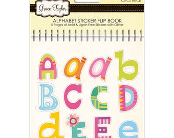 Grace Taylor. 5 pages of ABC letter stickers with glitter in a flip book.  Acid and lignin free.
