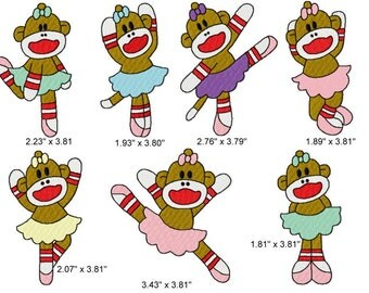 21 Ballerina Sock Monkey Machine Embroidery Design Files 4x4