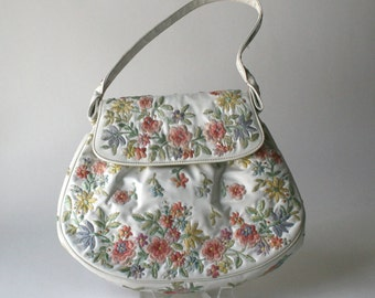 Vintage Marketa White Floral Embroidered Handbag 1950S