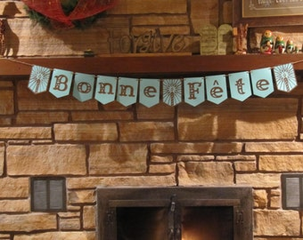 Bonne Fete banner, French banner, Happy Birthday banner, Blue and brown banner