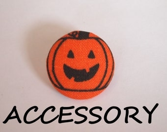 Halloween orange and black Jack O Lantern fabric covered buttons (adjustable ring, earrings, shoe clips, and brooch)