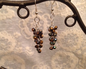 Copper and Aqua Multifaceted Cluster Earrings