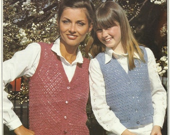 Beautiful Vintage Crochet pattern for Mother and Daughter Waistcoats. Patons 1970's ladies Jacket in PDF format.