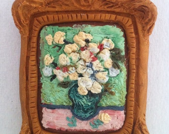 Customizable: Polymer Clay Painting after Van Gogh Roses sculpey