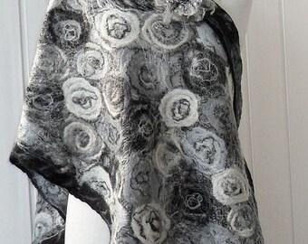 Felted shawl wool Black & White,  Grey unique shawls Handmade Felt
