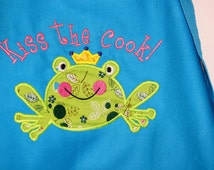 Kiss the Cook! Frog Prince Turquoise Blue Kitchen Apron