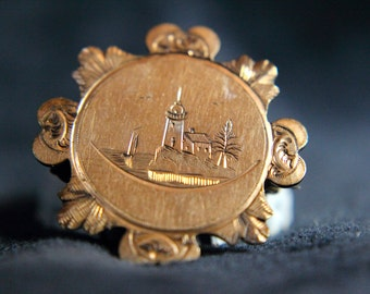 Victorian Gold Filled Etched Pin