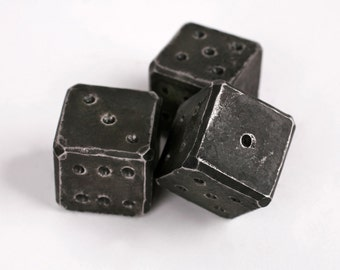 Hand forged iron dice - great as a gift or decoration. Original gift. Christmas gift