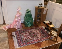 Good Quality Dollhouse Furniture sewing room set lot w/ gorgeous sewing cabinet sewing machine table rocking chair & oriental rug 1/12