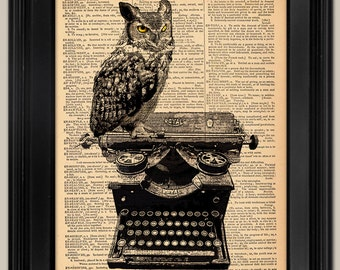 Owl on Vintage Typewriter art print. Great Graduation Gift Vintage book page art print. Print on book page.