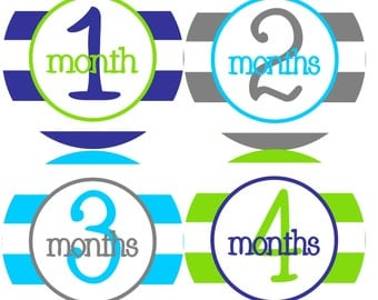 NEW....Personalized Monthly Baby Stickers for Boys- The Andy Design.... Baby, Photo Prop, Milestone Sticker, Baby Monthly Stickers