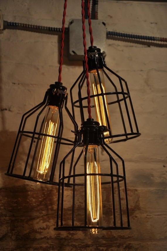 red metal bulb guard chandelier light cage pendant hanging. Black Bedroom Furniture Sets. Home Design Ideas