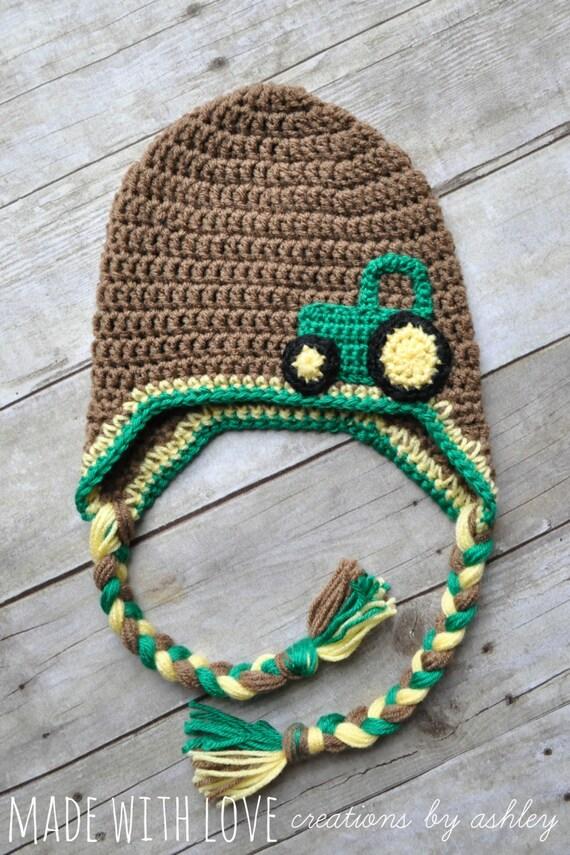 Crochet John Deere Tractor Hat in brown green by ...