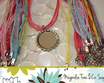 Bottle Cap Necklace DIY Kit, Kids Party Favor Kit, Organza Ribbon Cord Necklaces, Epoxy Stickers, Party Favor Kit, Makes 25 Necklaces