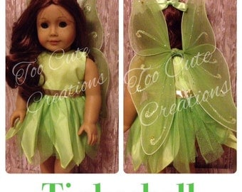 Tikerbell Fairy Doll Costume made to fit like american girl clothes for 18 Inch Doll